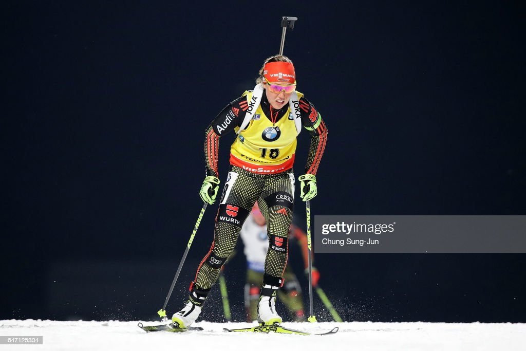 Laura Dahlmeier of Germany competes durring the Woman 7.5km Sprint during the BMW IBU World Cup Biathlon 2017 - test event for PyeongChang 2018 Winter Olympic Games at Alpensia Biathlon Centre on March 2, 2017 in Pyeongchang-gun, South Korea.