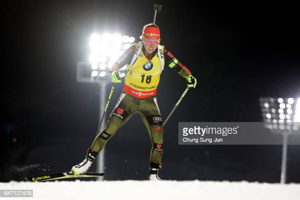 Laura Dahlmeier of Germany competes durring the Woman 75km Sprint during the BMW IBU World Cup Biathlon 2017 test event for PyeongChang 2018 Winter...