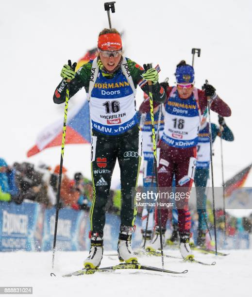 Laura Dahlmeier of Germany competes in the 10 km Women's Pursuit during the BMW IBU World Cup Biathlon on December 0 2017 in Hochfilzen Austria