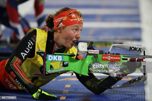 Laura Dahlmeier of Germany competes in the Woman 10km Pursuit during the BMW IBU World Cup Biathlon 2017 test event for PyeongChang 2018 Winter...