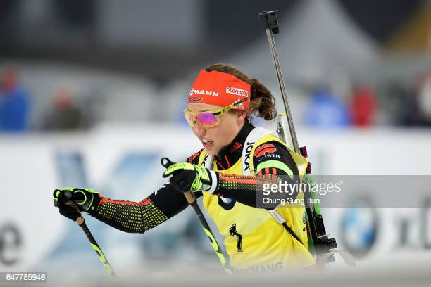 Laura Dahlmeier of Germany competes in the Woman 10km Pursuit during the BMW IBU World Cup Biathlon 2017 a test event for PyeongChang 2018 Winter...