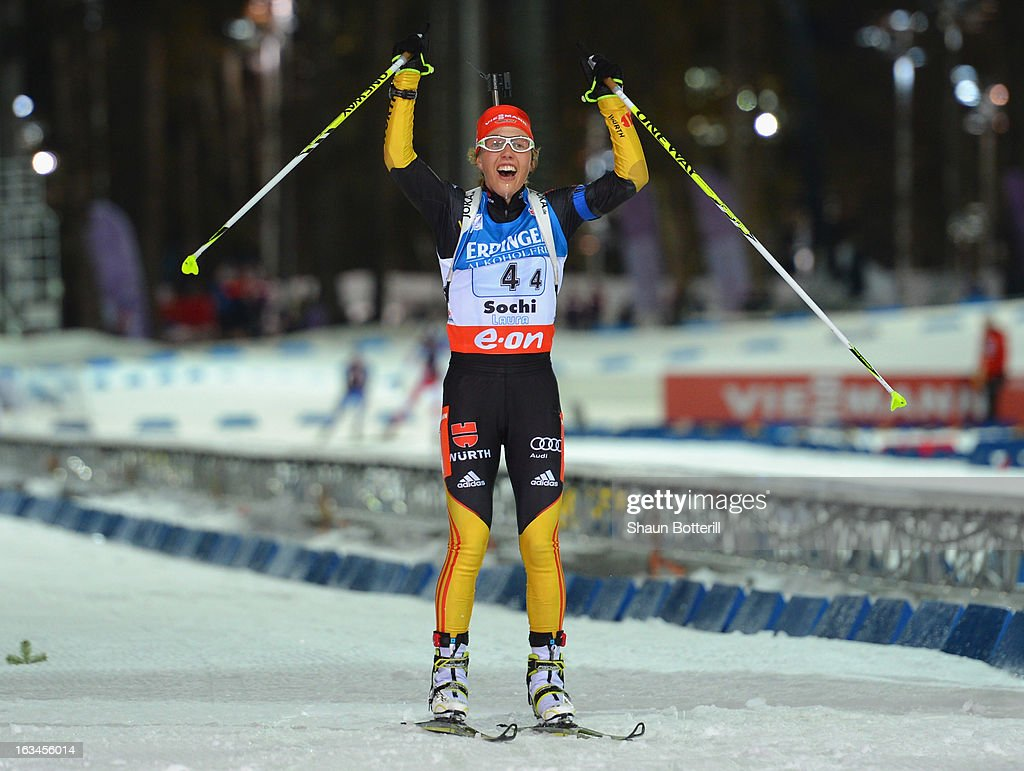 Laura Dahlmeier of Germany finishes in 1st place in the Women's 4x6km Relay event at theBiathlon & Ski Complex on March 10, 2013 in Sochi, Russia.