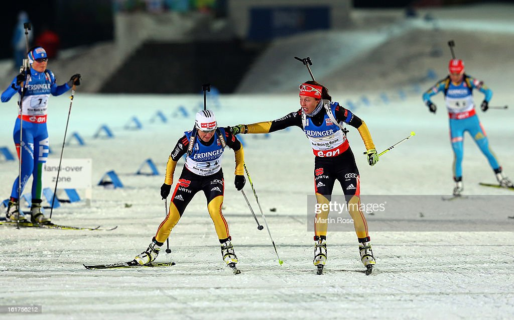 Laura Dahlmeier (R) of Germany hands over to her team mate <a gi-track='captionPersonalityLinkClicked' href=/galleries/search?phrase=Andrea+Henkel&family=editorial&specificpeople=233764 ng-click='$event.stopPropagation()'>Andrea Henkel</a> during the Women's 4 x 6km Relay in the IBU Biathlon World Championships at Vysocina Arena on February 15, 2013 in Nove Mesto na Morave, Czech Republic.