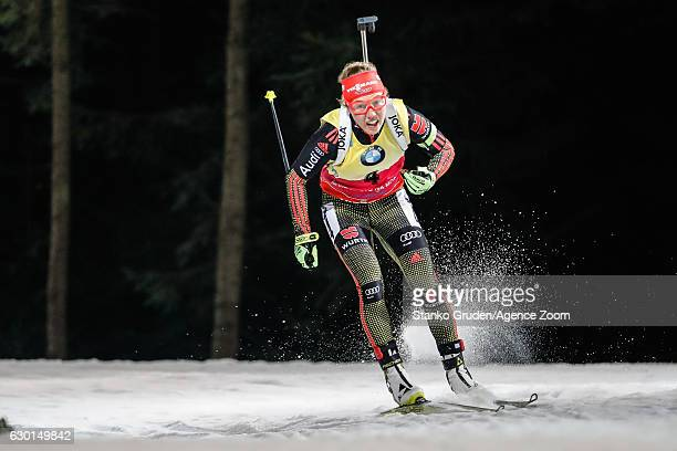 Laura Dahlmeier of Germany in action during the IBU Biathlon World Cup Men's and Women's Pursuit on December 17 2017 in Nove Mesto na Morave Czech...