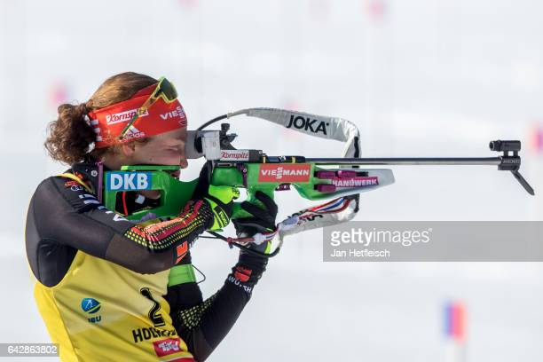 Laura Dahlmeier of Germany in action during the women's 125km mass start competition of the IBU World Championships Biathlon 2017 at the Biathlon...