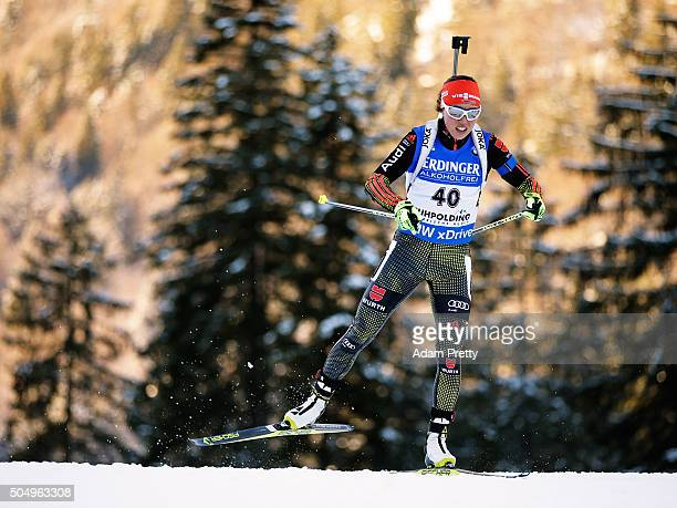 Laura Dahlmeier of Germany in action during the Women's 15km biathlon race at the IBU Biathlon World Cup Ruhpolding on January 14 2016 in Ruhpolding...