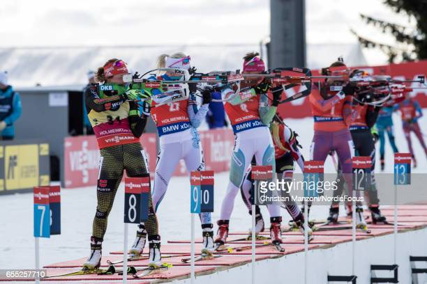 Laura Dahlmeier of Germany Kaisa Makarainen of Finland and Teja Gregorin of Slovenia compete during the 10 km women's Pursuit on March 18 2017 in...