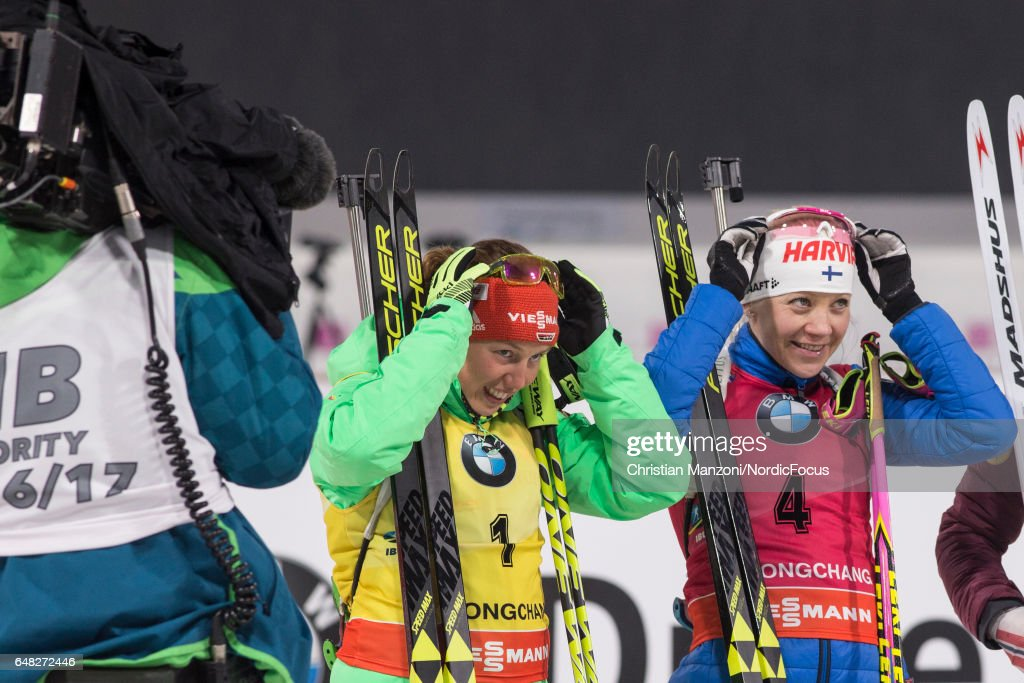 Laura Dahlmeier of Germany, Kaisa Makarainen of Finland competes during the 10 km women's Pursuit on March 4, 2017 in Pyeongchang-gun, South Korea.