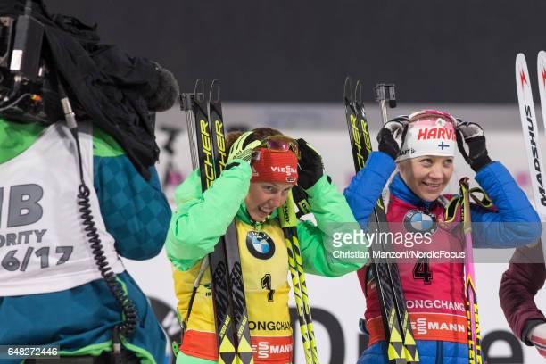 Laura Dahlmeier of Germany Kaisa Makarainen of Finland competes during the 10 km women's Pursuit on March 4 2017 in Pyeongchanggun South Korea