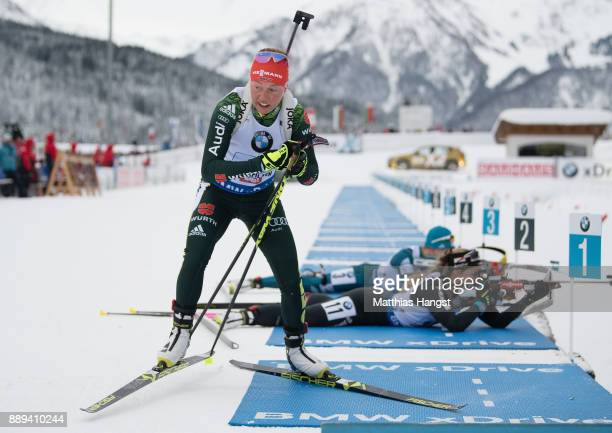 Laura Dahlmeier of Germany leaves the shooting range during the Women's 4x 6km relay competition of the BMW IBU World Cup Biathlon on December 10...