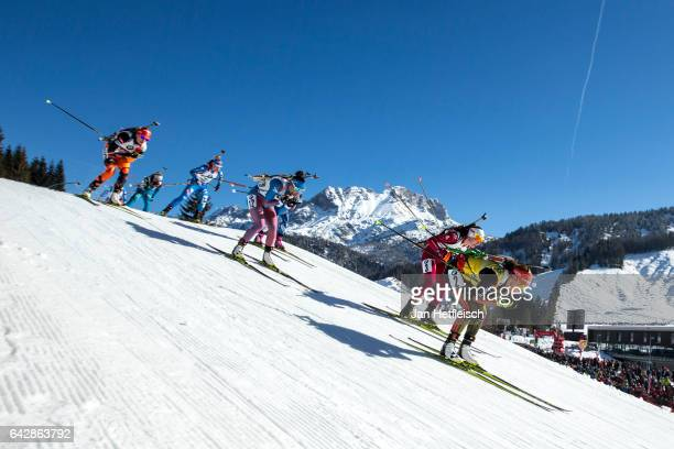 Laura Dahlmeier of Germany R in action during the women's 125km mass start competition of the IBU World Championships Biathlon 2017 at the Biathlon...