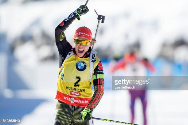 Laura Dahlmeier of Germany reacts after winning the women's 125km mass start competition of the IBU World Championships Biathlon 2017 at the Biathlon...