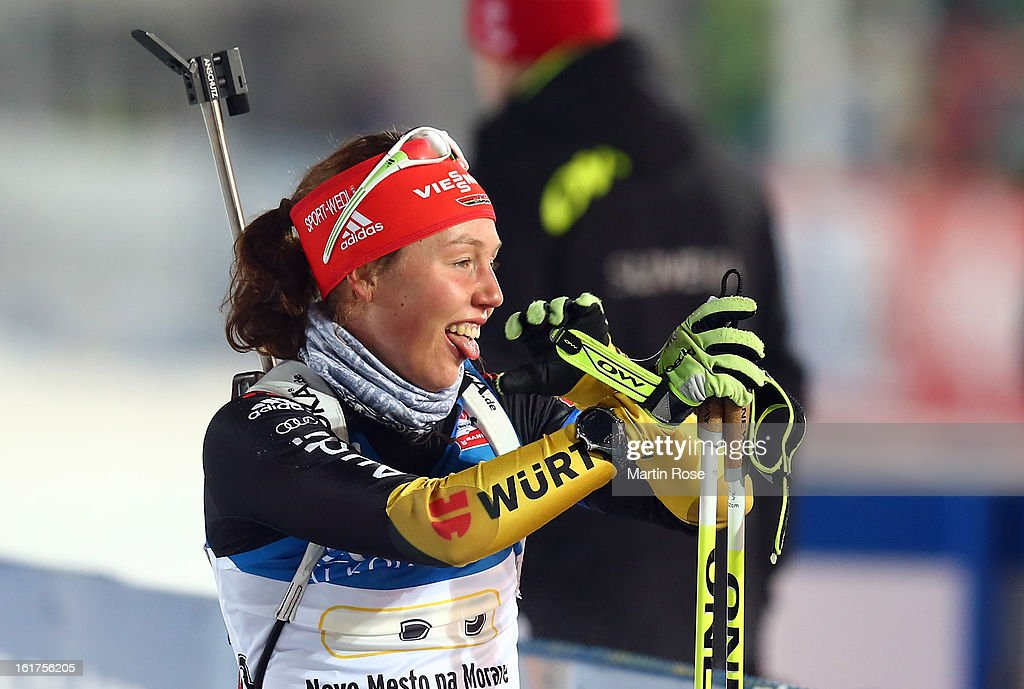Laura Dahlmeier of Germany reacts in the Women's 4 x 6km Relay in the IBU Biathlon World Championships at Vysocina Arena on February 15, 2013 in Nove Mesto na Morave, Czech Republic.