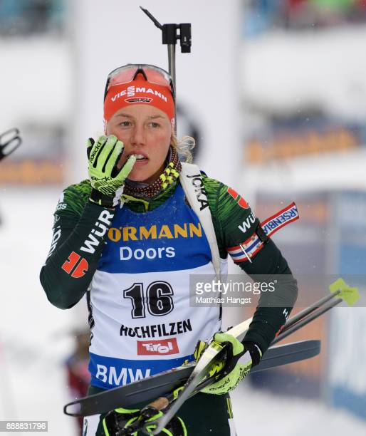 Laura Dahlmeier of Germany shows her disappointment after the 10 km Women's Pursuit during the BMW IBU World Cup Biathlon on December 0 2017 in...