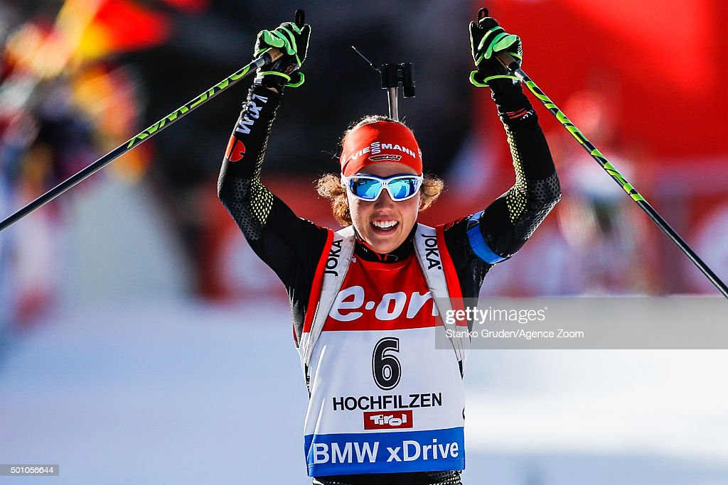 <a gi-track='captionPersonalityLinkClicked' href=/galleries/search?phrase=Laura+Dahlmeier&family=editorial&specificpeople=10284324 ng-click='$event.stopPropagation()'>Laura Dahlmeier</a> of Germany takes 1st place during the IBU Biathlon World Cup Men's and Women's Pursuit on December 12, 2015 in Hochfilzen, Austria.