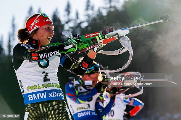 Laura Dahlmeier of Germany takes 1st place during the IBU Biathlon World Cup Men's and Women's Pursuit on December 19 2015 in Pokljuka Slovenia
