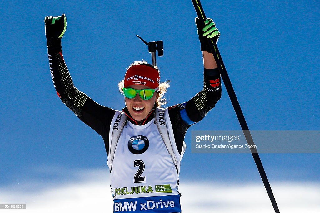 <a gi-track='captionPersonalityLinkClicked' href=/galleries/search?phrase=Laura+Dahlmeier&family=editorial&specificpeople=10284324 ng-click='$event.stopPropagation()'>Laura Dahlmeier</a> of Germany takes 1st place during the IBU Biathlon World Cup Men's and Women's Pursuit on December 19, 2015 in Pokljuka, Slovenia.