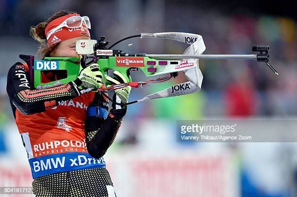 Laura Dahlmeier of Germany takes 1st place during the IBU Biathlon World Cup Men's and Women's Pursuit on January 9 2016 in Ruhpolding Germany
