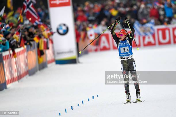 Laura Dahlmeier of Germany takes 1st place during the IBU Biathlon World Cup Women's Relay on January 12 2017 in Ruhpolding Germany