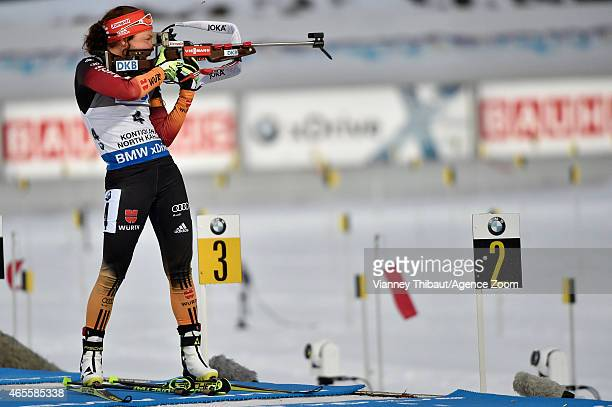 Laura Dahlmeier of Germany takes 2nd place during the IBU Biathlon World Championships Men's and Women's Pursuit on March 08 2015 in Kontiolahti...