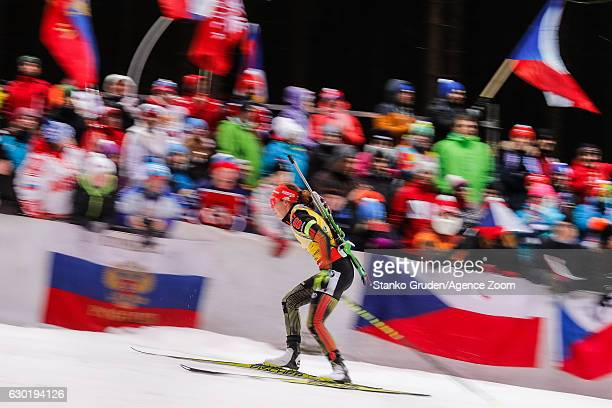 Laura Dahlmeier of Germany takes 2nd place during the IBU Biathlon World Cup Men's and Women's Mass Start on December 18 2016 in Nove Mesto na Morave...