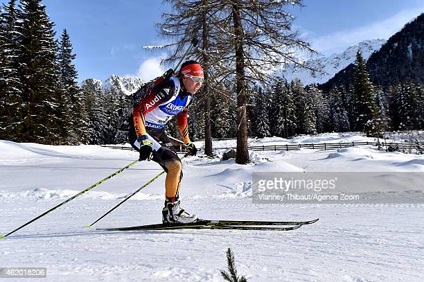Laura Dahlmeier of Germany takes 3rd place during the IBU Biathlon World Cup Women's Sprint on January 23 2015 in AntholzAnterselva Italy