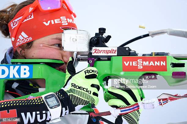 Laura Dahlmeier of Germany takes 3rd place during the IBU Biathlon World Cup Women's Sprint on January 14 2017 in Ruhpolding Germany