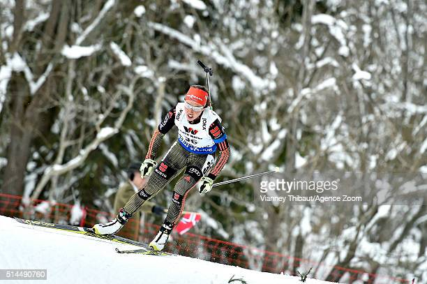 Laura Dahlmeier of Germany wins the bronze medal during the IBU Biathlon World Championships Women's 15km Individual on March 9 2016 in Oslo Norway