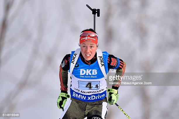 Laura Dahlmeier of Germany wins the bronze medal during the IBU Biathlon World Championships Women's Relay on March 11 2016 in Oslo Norway
