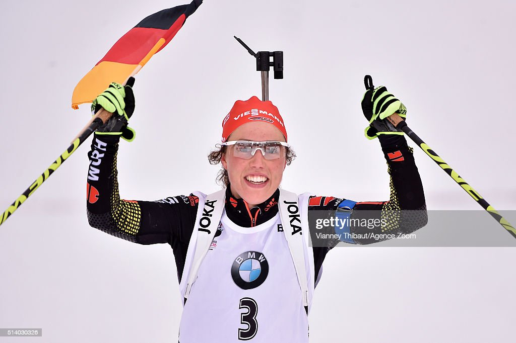 <a gi-track='captionPersonalityLinkClicked' href=/galleries/search?phrase=Laura+Dahlmeier&family=editorial&specificpeople=10284324 ng-click='$event.stopPropagation()'>Laura Dahlmeier</a> of Germany wins the gold medal during the IBU Biathlon World Championships Men's and Women's Pursuit on March 6, 2016 in Oslo, Norway.