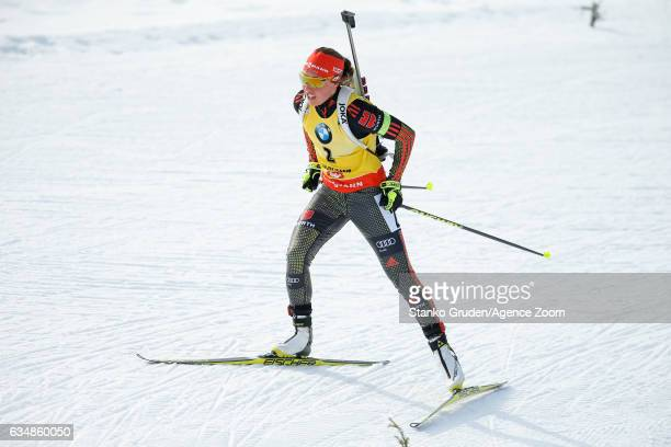 Laura Dahlmeier of Germany wins the gold medal during the IBU Biathlon World Championships Men's and Women's Pursuit on February 12 2017 in...