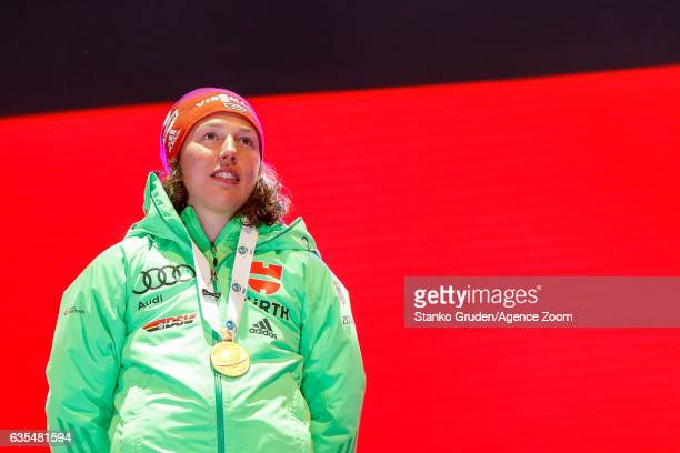 Laura Dahlmeier of Germany wins the gold medal during the IBU Biathlon World Championships Women's Individual on February 15 2017 in Hochfilzen...