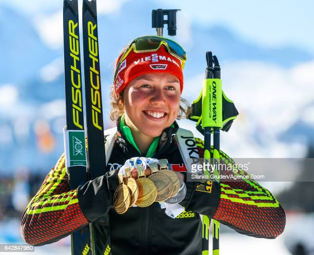 Laura Dahlmeier of Germany wins the gold medal during the IBU Biathlon World Championships Men's and Women's Mass Start on February 19 2017 in...
