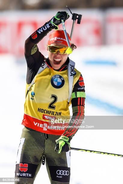 Laura Dahlmeier of Germany wins the gold medal during the IBU Biathlon World Championships Men's and Women's Mass Start on February 19 2017 in...