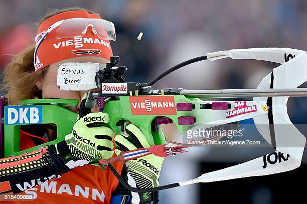 Laura Dahlmeier of Germany wins the silver medal during the IBU Biathlon World Championships Men's and Women's Mass Start on March 13 2016 in Oslo...