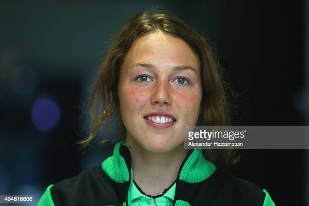 Laura Dahlmeier poses during the German Ski Association DSV kitting out at adidas World of Sports on October 29 2015 in Herzogenaurach Germany