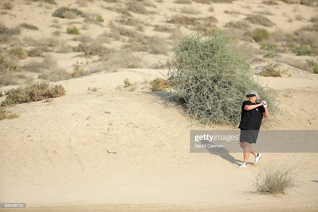 Laura Davies of England in action during the proam as a preview for the 2015 Omega Dubai Ladies Masters on the Majlis Course at The Emirates Golf...