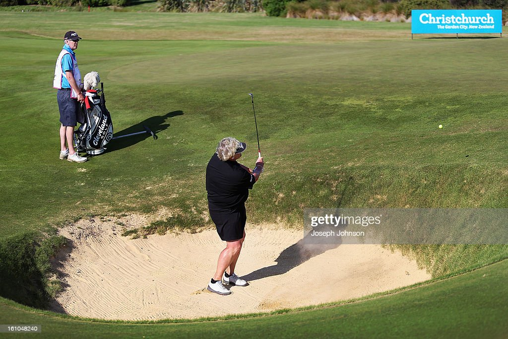 Laura Davies of England plays from the pot bunker on the 17th hole during day two of the New Zealand women's golf open at Clearwater Golf Course on February 9, 2013 in Christchurch, New Zealand.