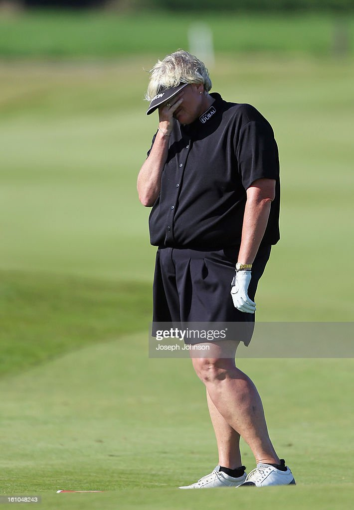 <a gi-track='captionPersonalityLinkClicked' href=/galleries/search?phrase=Laura+Davies&family=editorial&specificpeople=202266 ng-click='$event.stopPropagation()'>Laura Davies</a> of England reacts after her second shot on the 17th hole during day two of the New Zealand women's golf open at Clearwater Golf Course on February 9, 2013 in Christchurch, New Zealand.