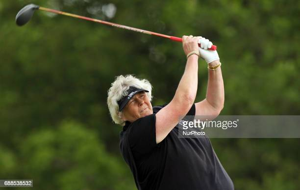 Laura Davies of England tees off on the 11th tee during the first round of the LPGA Volvik Championship at Travis Pointe Country Club Ann Arbor MI...