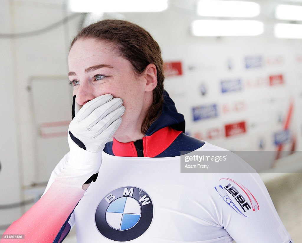 Laura Deas of Great Britain celebrates finishing in eleventh place in the Women's Skeleton on day 6 of the 2016 IBSF World Championships at Olympiabobbahn Igls on February 20, 2016 in Innsbruck, Austria.