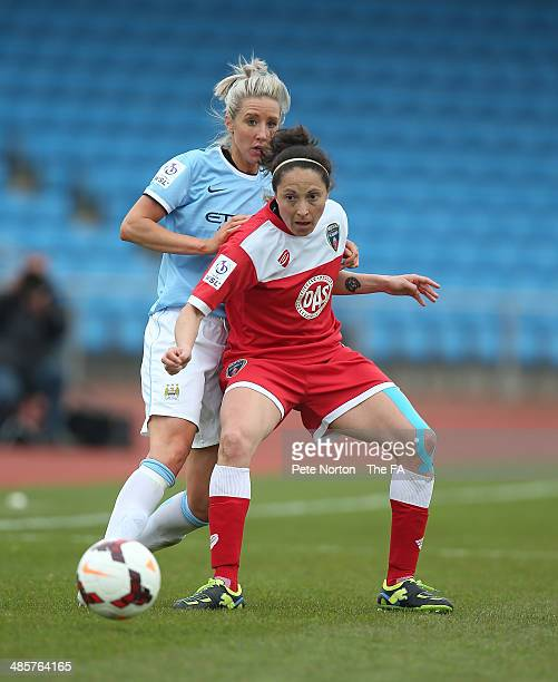 Laura Del Rio of Bristol Academy Women looks to control the ball under pressure from Emma Lipman of Manchester City Women during the FA WSL 1 match...