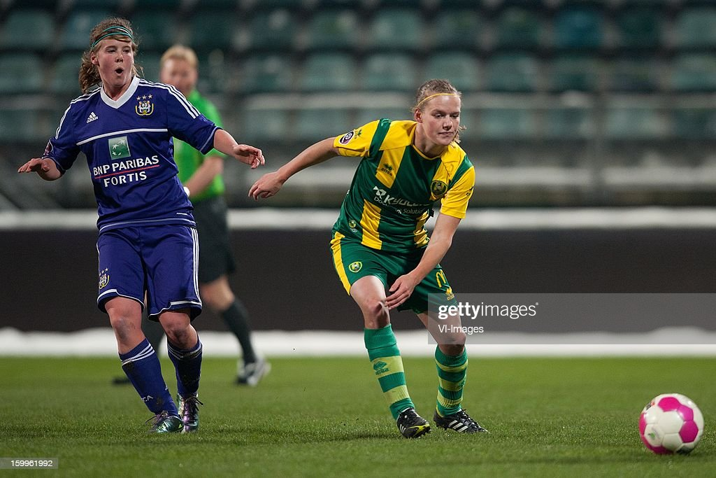 Laura Deloose of Anderlecht, Sheila van den Bulk of ADO Den Haag during the women BeNe league match between ADO Den Haag and RSC Anderlecht on January 24, 2013 at the Kyocera stadium at The Hague, Netherlands.