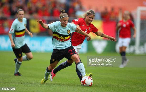 Laura Deloose of Belgium Women and Andrine Hegerberg of Norway Women in action during the UEFA Women's Euro 2017 match between Norway and Belgium at...