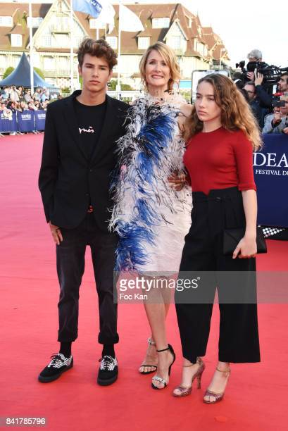 Laura Dern and her children attend the opening ceremony of the 43rd Deauville American Film Festival on September 1 2017 in Deauville France