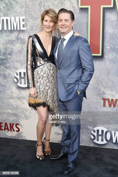 Laura Dern and Kyle MacLachlan attend the World Premiere Of Showtime's 'Twin Peaks' Arrivals at The Theatre at Ace Hotel on May 19 2017 in Los...