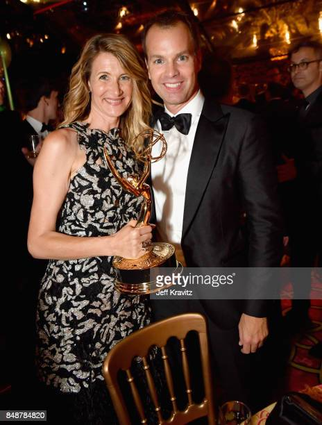 Laura Dern and President of HBO Programming Casey Bloys attend the HBO's Official 2017 Emmy After Party at The Plaza at the Pacific Design Center on...