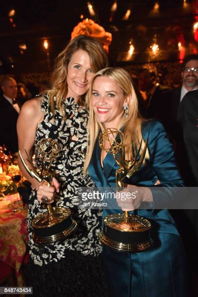 Laura Dern and Reese Witherspoon at the HBO's Official 2017 Emmy After Party at The Plaza at the Pacific Design Center on September 17 2017 in Los...