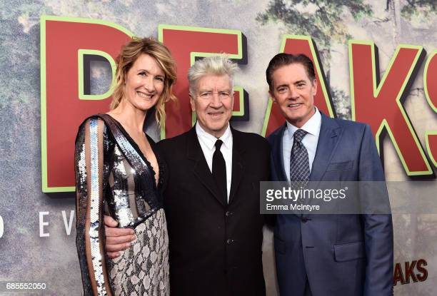 Laura Dern David Lynch and Kyle MacLachlan attend the premiere of Showtime's 'Twin Peaks' at The Theatre at Ace Hotel on May 19 2017 in Los Angeles...