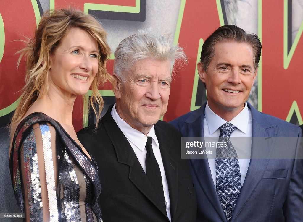 Laura Dern, David Lynch and Kyle MacLachlan attend the premiere of 'Twin Peaks' at Ace Hotel on May 19, 2017 in Los Angeles, California.